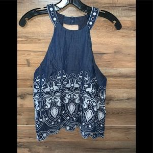 J.O.A| denim halter blouse with embroidered detail